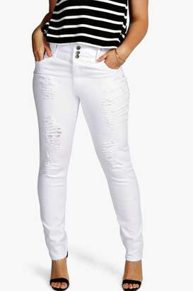 boohoo Plus High Waisted Stretch Skinny Jeans