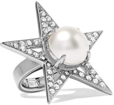 Miu Miu Miu Miu - Silver-plated, Crystal And Faux Pearl Ring - S
