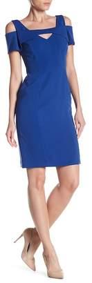 NUE by Shani Cold Shoulder Short Sleeve V-Neck Bodycon Dress
