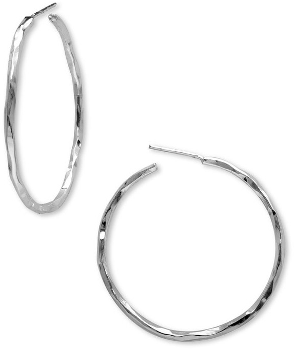 Argento Vivo Hammered Hoop Earrings