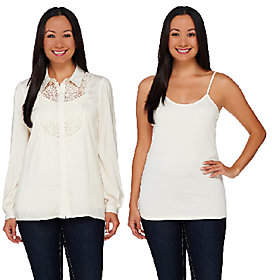 Dennis Basso Button Front Lace Detail Blousewith Tank
