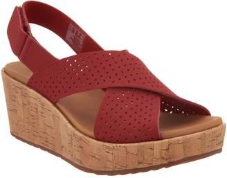 Clarks Perforated Nubuck Cork Wedge Sandals - Stasha Bridget