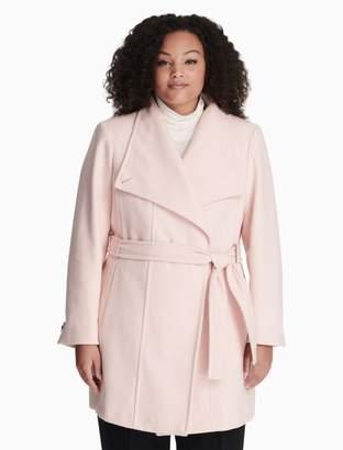 Calvin Klein plus size wool blend belted coat