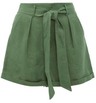 Loup Charmant Tellin High Rise Linen Shorts - Womens - Green