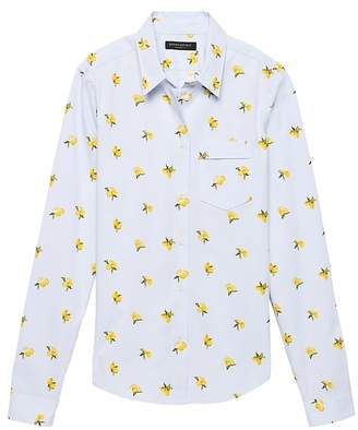 Banana Republic Quinn Boy-Fit Lemon Print Super-Stretch Shirt