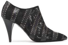 Alice + Olivia Calissa Studded Leather And Lace Ankle Boots