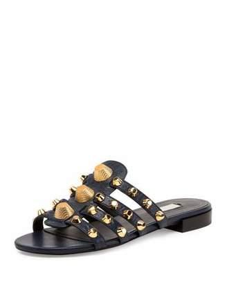 Balenciaga Studded Caged Flat Slide Sandal, Bleu Obscur $635 thestylecure.com