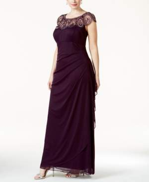 Xscape Evenings Plus Size Illusion Beaded Gown
