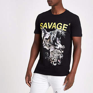 Criminal Damage black 'savage' print T-shirt