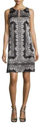 Nanette Lepore Sleeveless Silk Lace-Print Mini Dress, Black/White $398 thestylecure.com