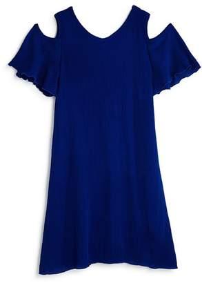 Aqua Girls' Cold-Shoulder Crisscross-Back Chiffon Dress, Big Kid - 100% Exclusive