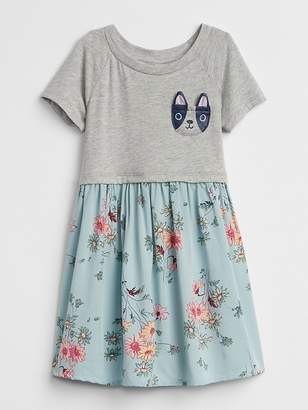 Gap Critter Mix-Fabric Dress