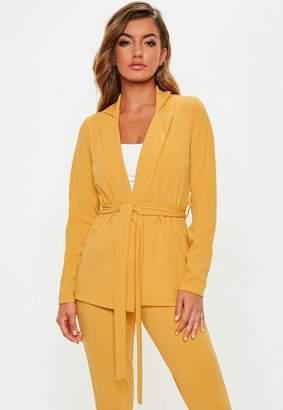 Missguided Mustard Yellow Tie Waist Jersey Blazer