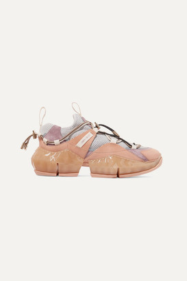 Jimmy Choo Diamond Trail Suede, Leather And Stretch-mesh Sneakers - Baby pink
