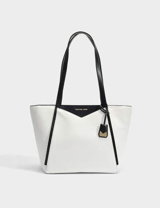 MICHAEL Michael Kors Small Top Zip Tote Bag in Optic White and Black Soft Venus Leather