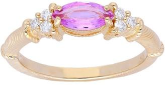 Judith Ripka 14K Gold Sapphire Diamond Ring