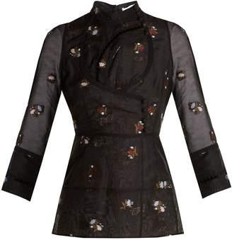 Erdem Orea high-neck floral-embroidered blouse