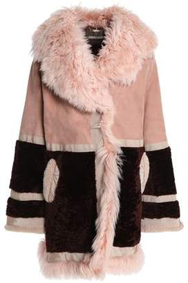 Roberto Cavalli Paneled Shearling And Suede Coat