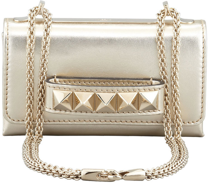 Valentino Va Va Voom Metallic Mini Bag, Gold