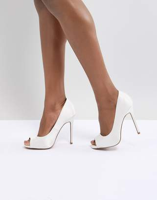 Asos DESIGN Praise Bridal Peep Toe High Heels