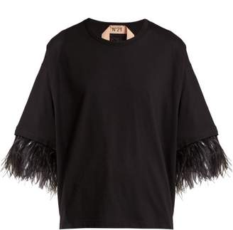 No.21 No. 21 - Feather Trimmed Short Sleeve Cotton T Shirt - Womens - Black