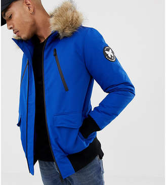 Asos Good For Nothing bomber jacket in blue with faux fur hood exclusive to