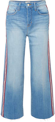 L'Agence Danica Striped High-rise Wide-leg Jeans - Mid denim
