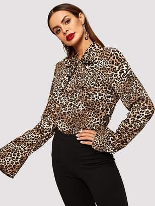 Shein Tie Neck Leopard Print Blouse