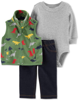 Carter's Carter Baby Boys 3-Pc. Fleece Dinosaur Vest, Bodysuit & Pants Set