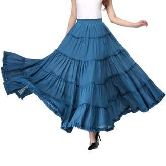 0ed60cf90c Vateno Gypsy Pleated Skirt Women Long Boho Maxi Skirts Spain Belly Dance Skirts  White Red