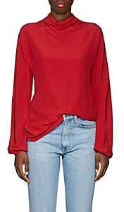 Prada Women's Silk Tieneck Blouse - Red