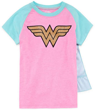 WONDER WOMAN Wonder Woman Graphic T Shirt w Detachable Cape Set- Girls' 7-16