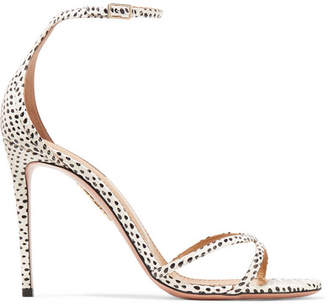 Aquazzura Purist Polka-dot Elaphe Sandals - White