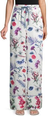 BCBGMAXAZRIA Floral Drawstring Wide-Leg Pants