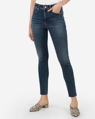 Express High Waisted Denim Perfect Curves Lift Raw Hem Zip Ankle Leggings
