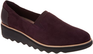 Clarks Suede Slip-On Loafers - Sharon Dolly