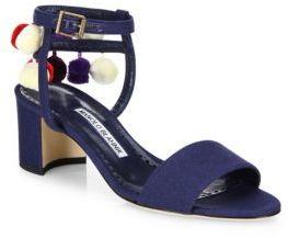 Manolo Blahnik Pompom Linen Ankle-Strap Sandals $815 thestylecure.com