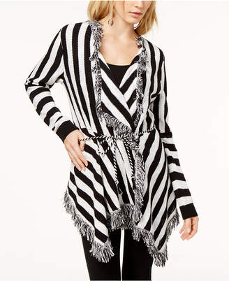 INC International Concepts I.N.C. Striped Fringe-Trimmed Cardigan, Created for Macy's