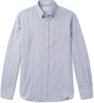 Hartford Sander Button-Down Collar Striped Cotton Half-Placket Shirt