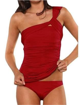 Sibylla SIBYLLA Women One Shoulder Ruched Tummy Control High Waist Tankini Set