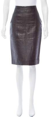 CNC Costume National Embossed Leather Skirt