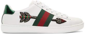 Gucci White Bleeding Arrow Ace Sneakers