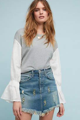 McGuire Embroidered Denim Mini Skirt