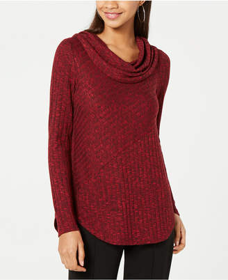BCX Juniors' Marled Ribbed Cowl-Neck Top