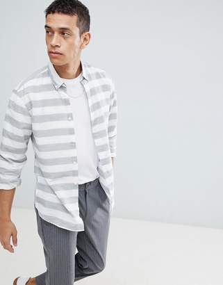 Selected Slim Fit Shirt With Horizontal Stripe
