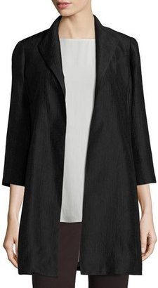 Eileen Fisher High-Collar Silk Ravine Coat, Clove $398 thestylecure.com