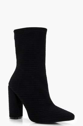 boohoo Woven Cylinder Heel Sock Boots