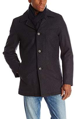 Tommy Hilfiger Men's Wool Melton Walking Coat with Detachable Scarf