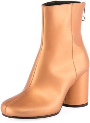 Maison Margiela Metallic Leather Cylinder-Heel Bootie, Brown