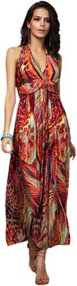 Honeystore Women's Peacock Print Empire Hawaiian Beach Maxi Dress